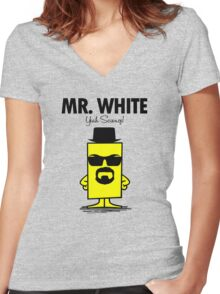 Mr. White Women's Fitted V-Neck T-Shirt