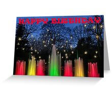 Happy Birthday with Fountains and Stars Greeting Card