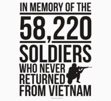 'In Memory of the 58,220 Soldiers Vietnam' T-Shirts by Albany Retro