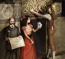 Steampunk 3 of Pentacles by Barbara Moore