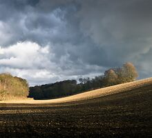 Winter field, showers by Gary Eason