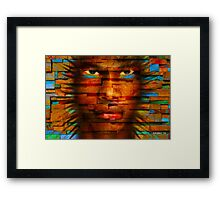 3D Stone Face Framed Print