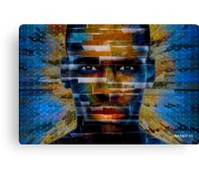 African male face on 3D textured background Canvas Print