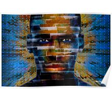 African male face on 3D textured background Poster