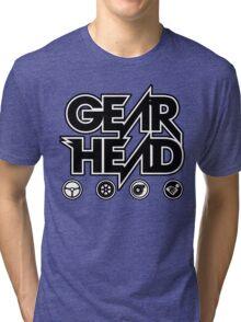 Gear Head (White Outline) Tri-blend T-Shirt