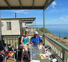 Enjoying the Holiday, Corinne & Leon, Cabin Balcony. by Rita Blom