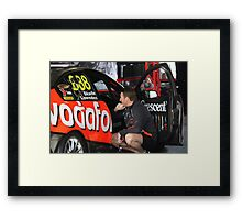 Triple Eight racing car with Mark Skaife in pits -2011 Framed Print