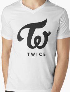 TWICE BLACK Mens V-Neck T-Shirt
