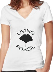 Ginkgo leaf. Living Fossil Women's Fitted V-Neck T-Shirt