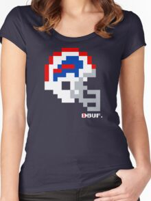 Tecmo Bowl -  Buffalo - 8-bit - Current Helmet shirt (RED HELMET available on Etsy -- see notes) Women's Fitted Scoop T-Shirt