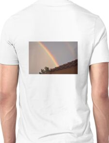 DOUBLE RAINBOW SITS ABOVE THIS HOME IN PALM DESERT T-Shirt