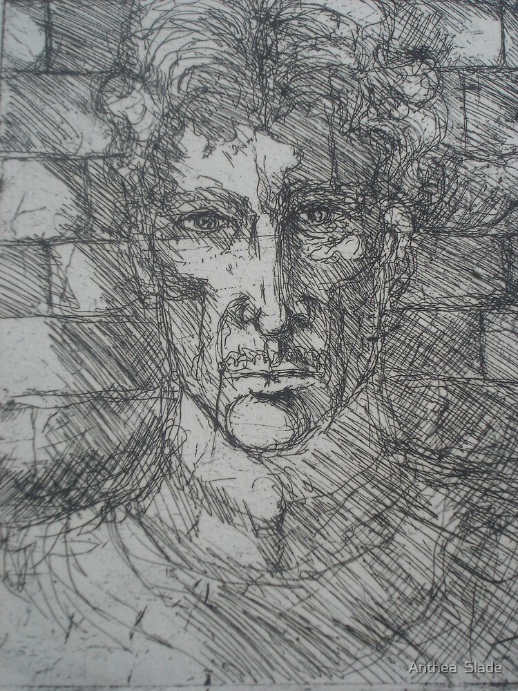 My Etching of George Orwell by Anthea  Slade