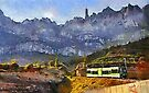The Cremallera de Montserrat, Spain (digitally painted version) by David Carton