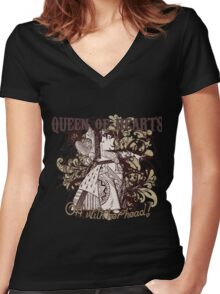 Queen of Hearts Carnivale Style Women's Fitted V-Neck T-Shirt