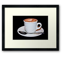 Cappuccino in white cup & saucer Framed Print