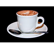 Cappuccino in white cup & saucer Photographic Print