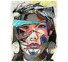 Female Face Fragments Collage Poster