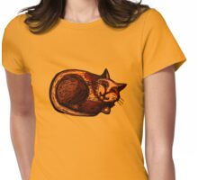 Sleepy Ginger Cat Illustration Womens Fitted T-Shirt