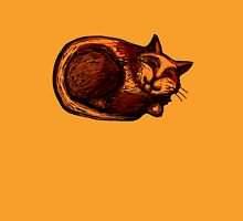Sleepy Ginger Cat Illustration Womens Fitted T-Shirt