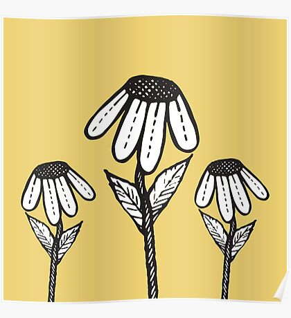 Cute Sad Drooping Hand Drawn Flowers Poster