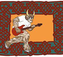 Celtic Minotaur Guitar by redqueenself