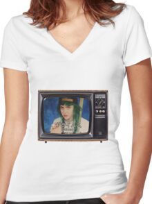 Grimey Television Women's Fitted V-Neck T-Shirt