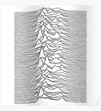 Music band waves - white&black Poster