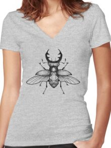 Geometric Stagbeetle Women's Fitted V-Neck T-Shirt