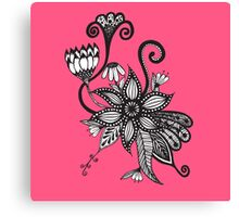 Bright Pink and Black & White Tangle Flowers Canvas Print