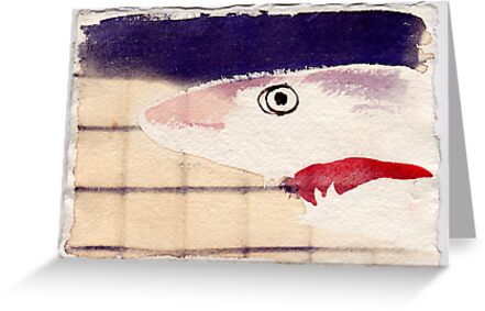 Shark in Captivity, 2007 - ink on khadi by phoebetodd