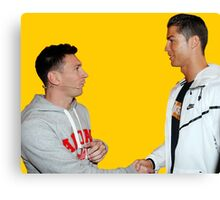Ronaldo and Messi Golden Respect Canvas Print