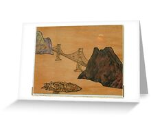Moon on Golden Gate Greeting Card