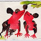 Two Native Mice, 2007 - ink on khadi by phoebetodd