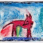 Red Fox, 2007 - pastel on khadi by phoebetodd