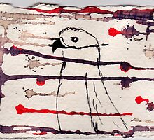Hawk, 2007 - ink on khadi by phoebetodd