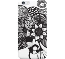 Black and White Tangle Floral Hand Drawings iPhone Case/Skin