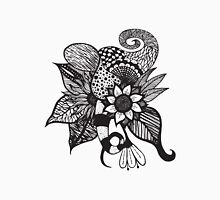 Black and White Tangle Floral Hand Drawings Unisex T-Shirt