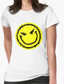 Big funny face.YELLOW Womens Fitted T-Shirt