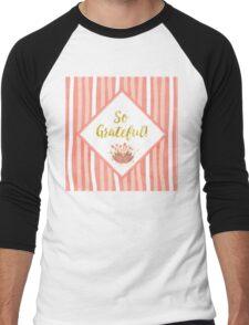 So Grateful gold, coral sentiment text art Men's Baseball ¾ T-Shirt