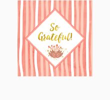 So Grateful gold, coral sentiment text art Womens Fitted T-Shirt