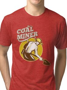 Coal Miner with shovel retro style Tri-blend T-Shirt