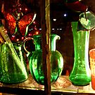 Green Colored Glass, Wayside Antique Shop by Jane Neill-Hancock