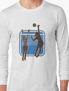 Volleyball Player Spiking Blocking Ball  Long Sleeve T-Shirt
