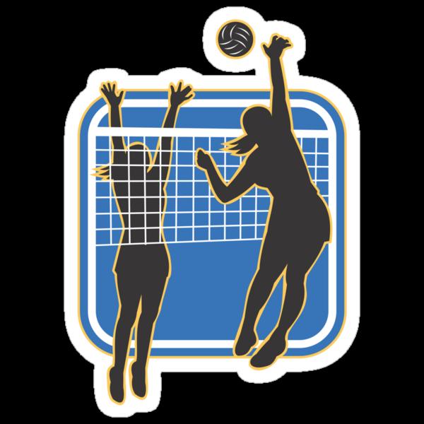 Volleyball Player Spiking Blocking Ball  by patrimonio