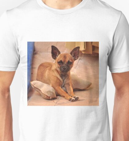 BUTTON PROTECTING HER PILLOW Unisex T-Shirt
