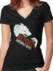 Direwolf bites are dire! Women's Fitted V-Neck T-Shirt