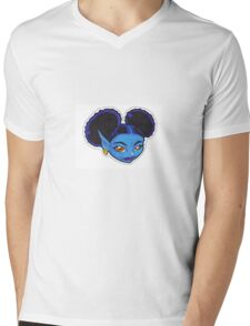 AFRO PUFF PIXIE BLUE Mens V-Neck T-Shirt
