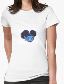 AFRO PUFF PIXIE BLUE Womens Fitted T-Shirt