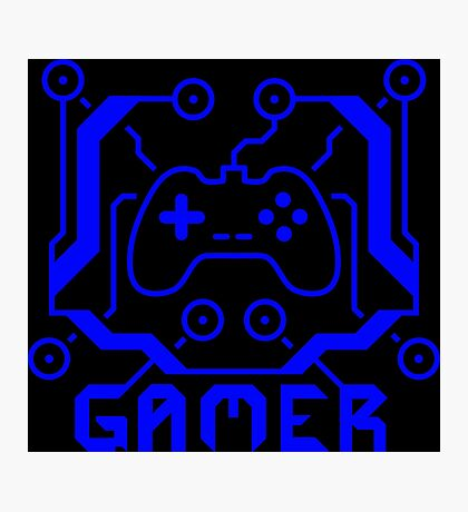 Blue Circuit Gamer Photographic Print