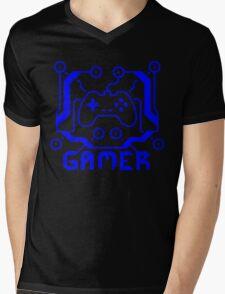 Blue Circuit Gamer Mens V-Neck T-Shirt